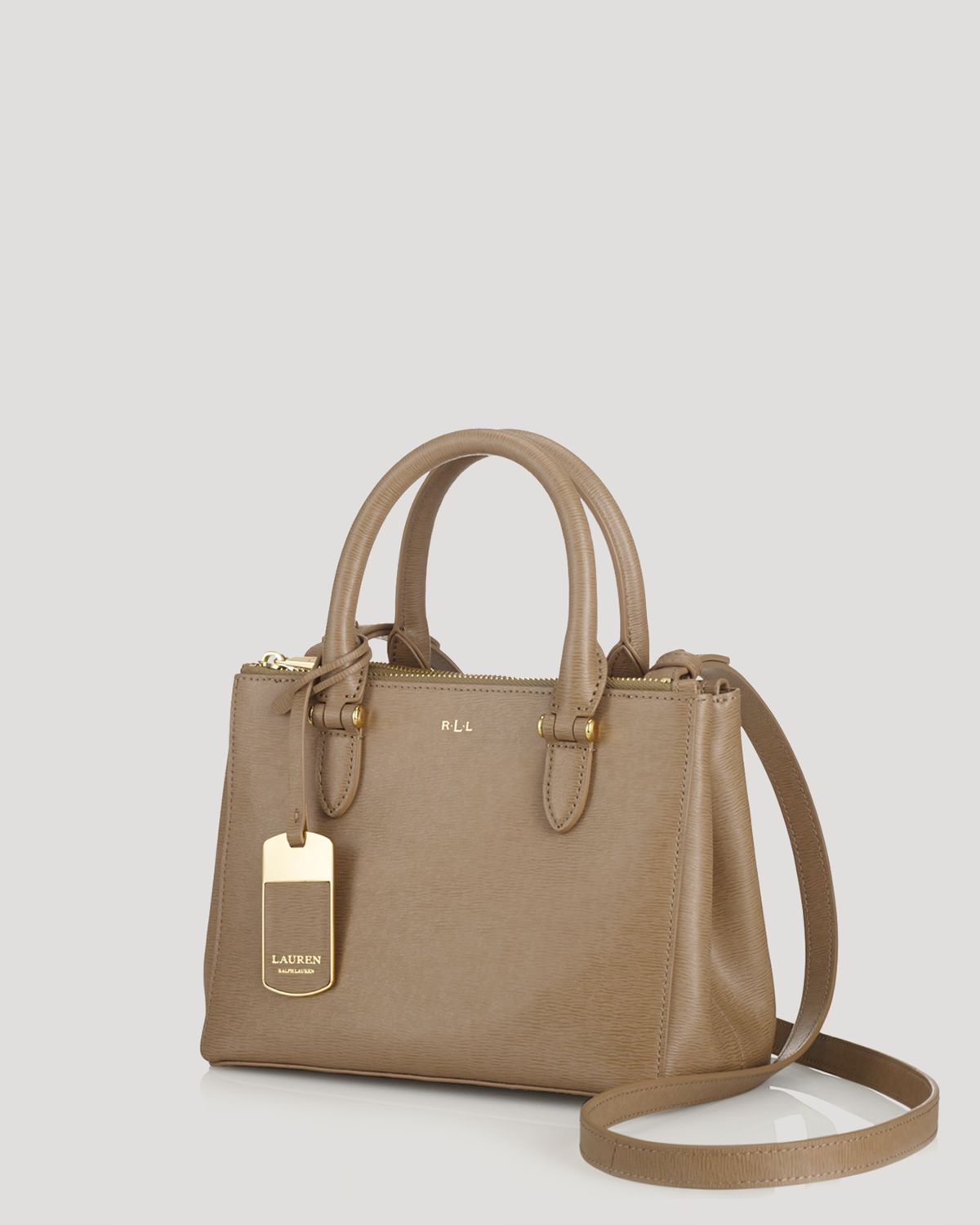 Lyst - Ralph Lauren Lauren Mini Bag Newbury Double Zip in Brown 1f116afccd97e