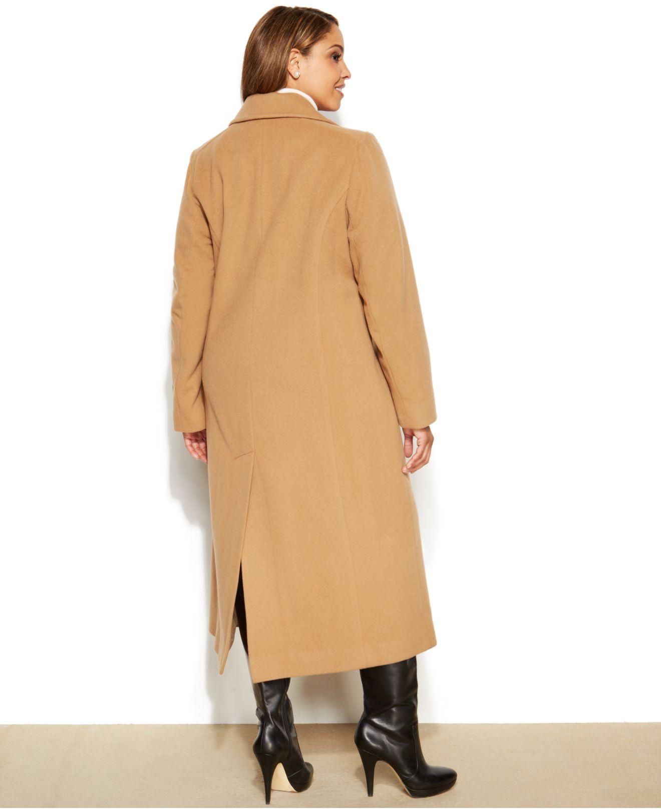 09e342c3188d8e Anne Klein Plus Size Wool-Cashmere-Blend Maxi Walker Coat in Natural ...