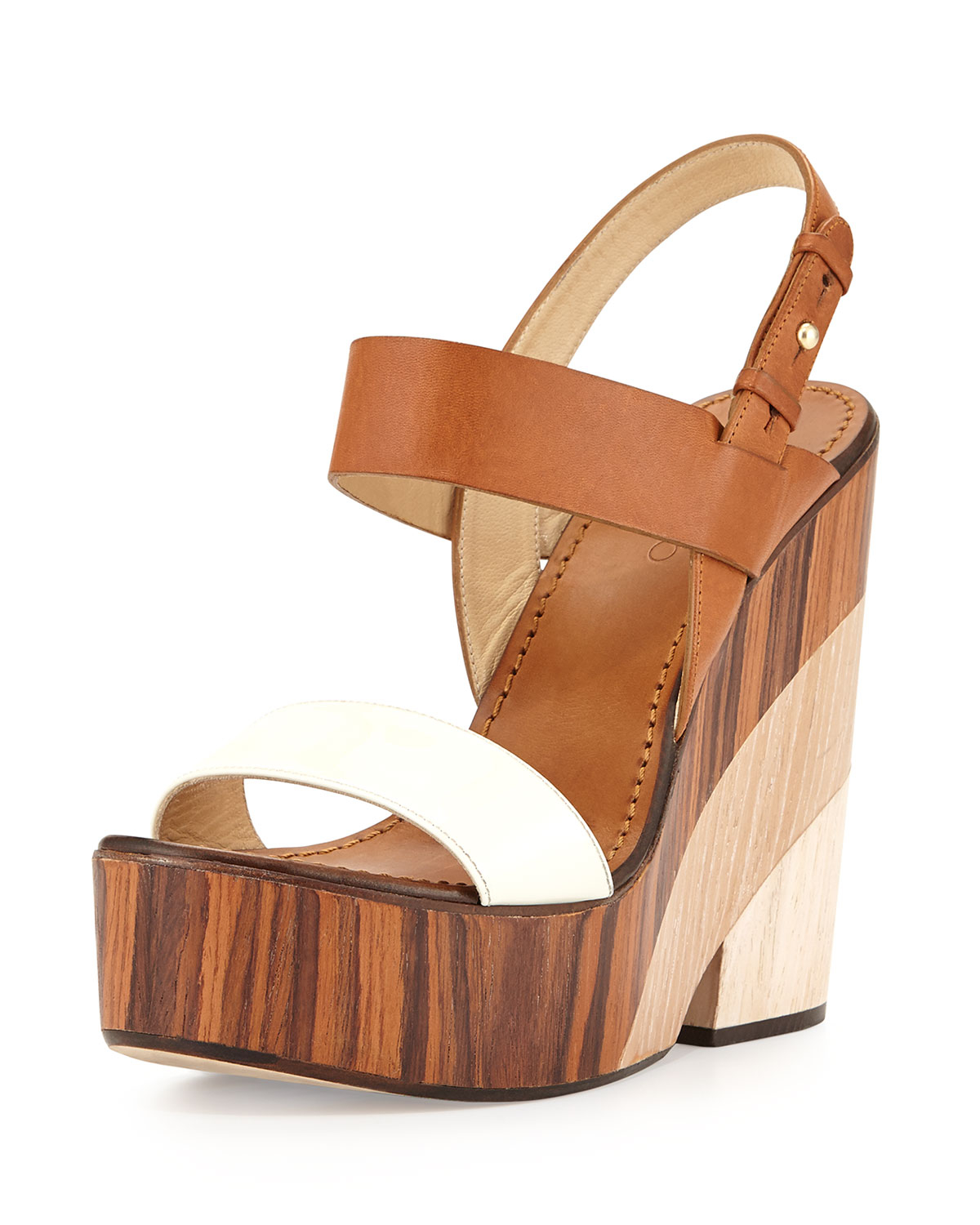 Lyst Jimmy Choo Tricolor Wooden Wedge Sandals In Brown
