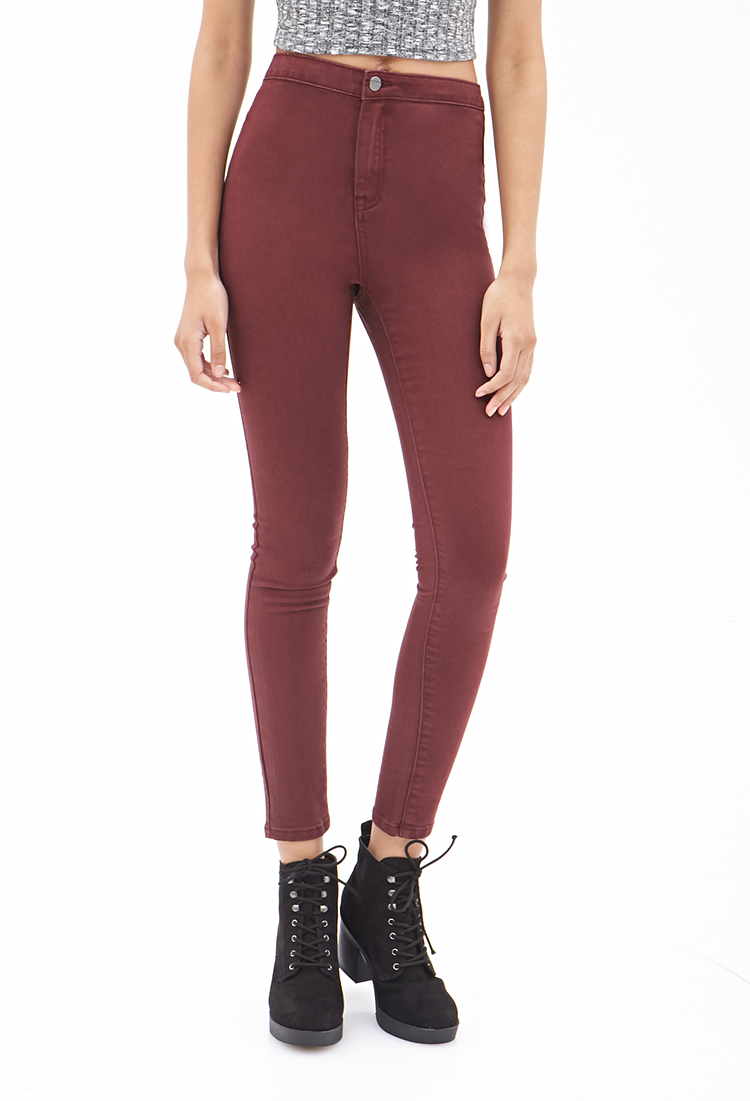 Skinny Maroon jeans forever 21 photos