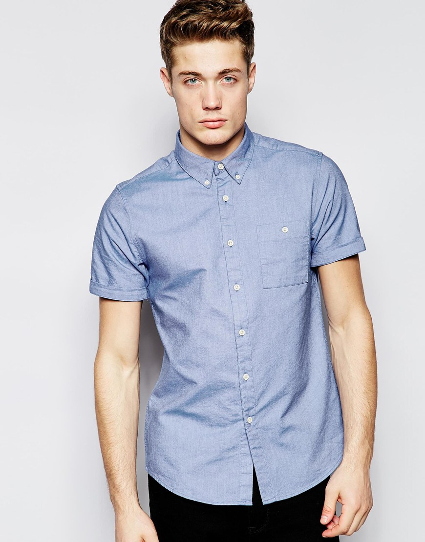 Lyst asos oxford shirt in sky blue with short sleeves in for Mens blue oxford shirt