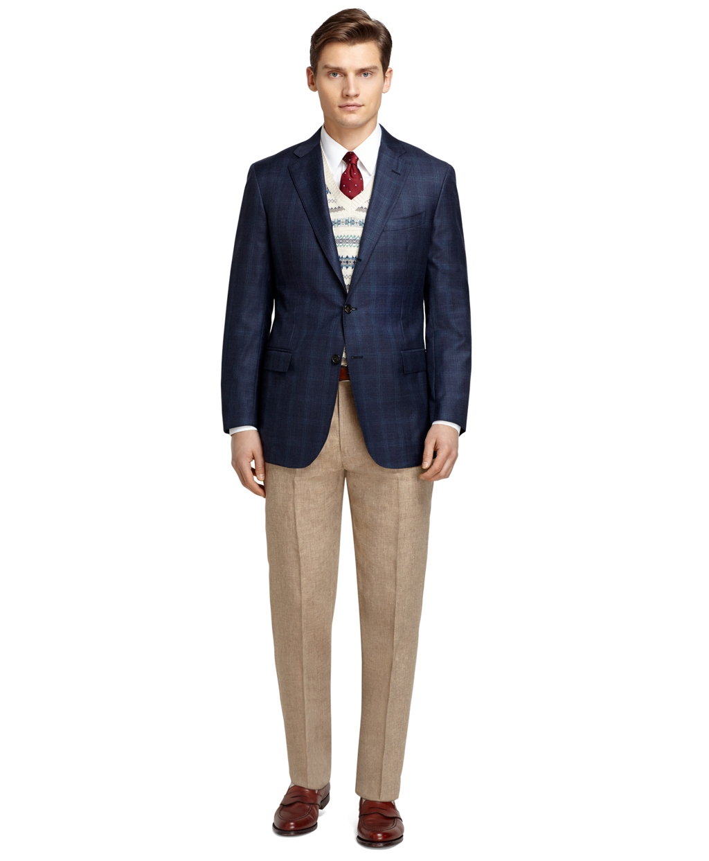 Brooks brothers Regent Fit Navy Plaid With Teal Windowpane Sport