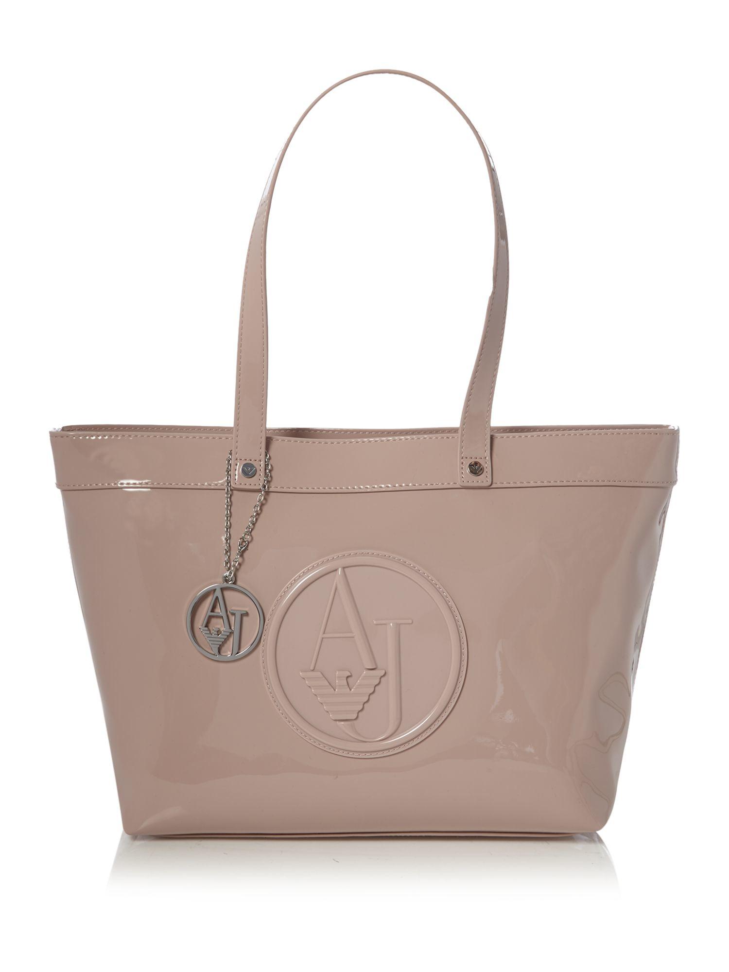 Armani Jeans Patent Light Pink Large Tote Bag in Pink - Lyst 044af9fcfc