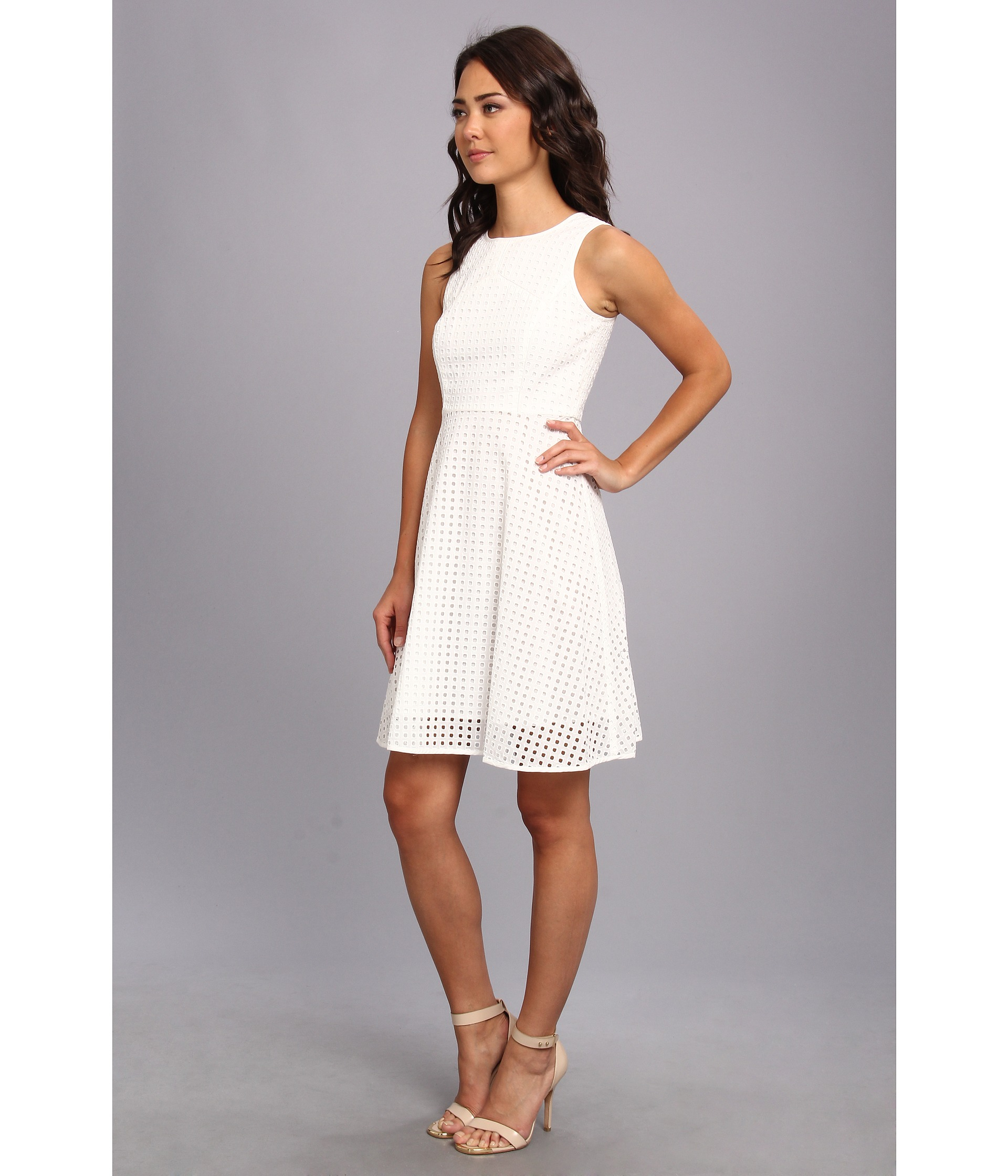 Vince camuto Square Eyelet Dress in White - Lyst