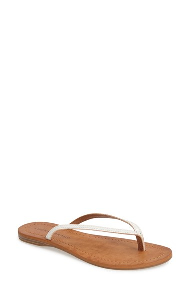 b0325d166e2c61 Lyst - Lucky Brand  Amberr  Leather Thong Sandal in White