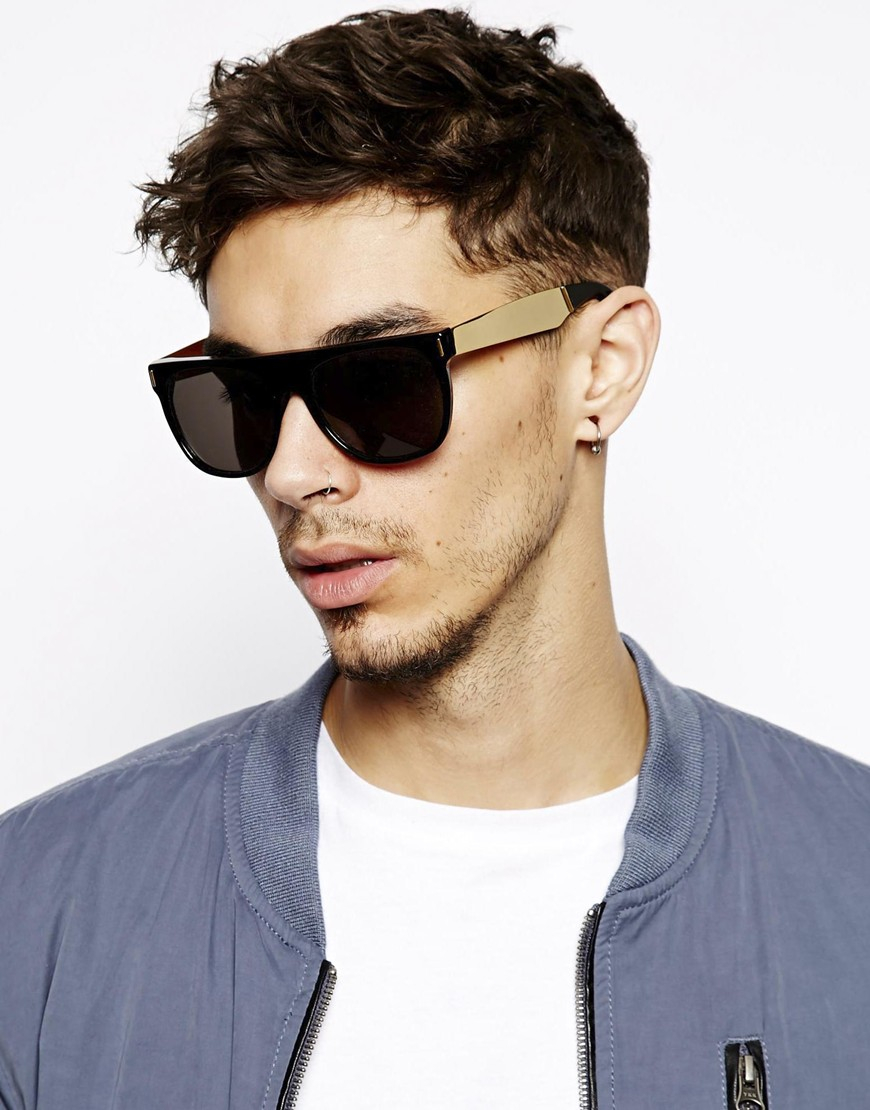 Super Sunglasses Retrosuperfuture  retrosuperfuture super flat top francis sunglasses in metallic for