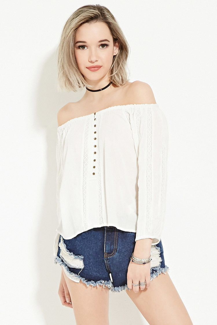 d3fe01bca7314 Lyst - Forever 21 Buttoned Off-the-shoulder Top in White