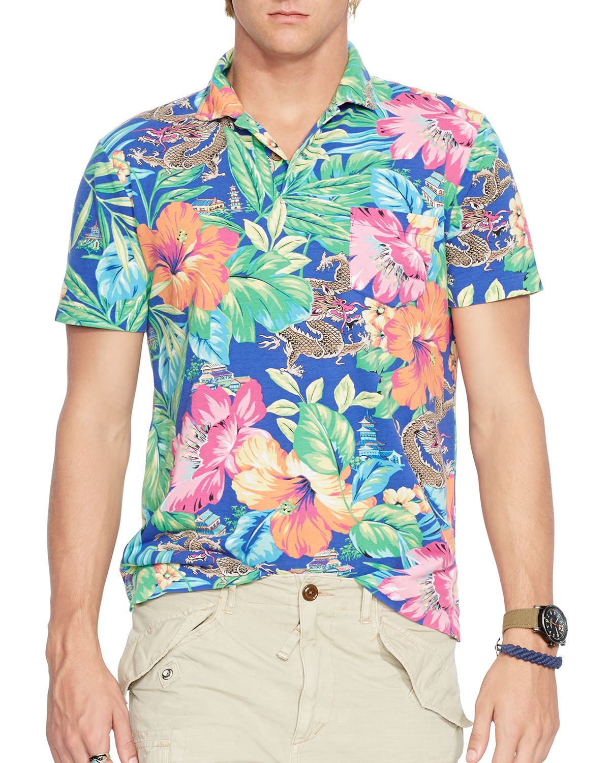 e0a679fa Ralph Lauren Polo Tropical Print Mesh Estate Shirt for Men - Lyst