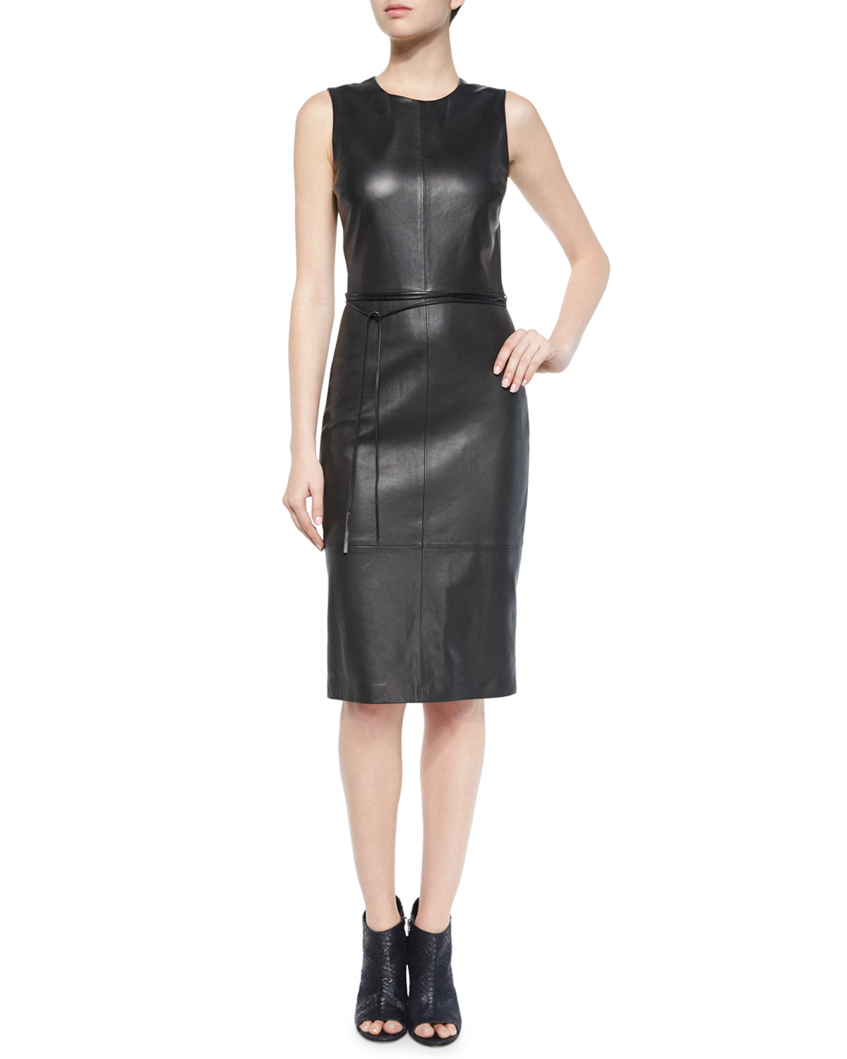 vince leather belted sheath dress in black lyst