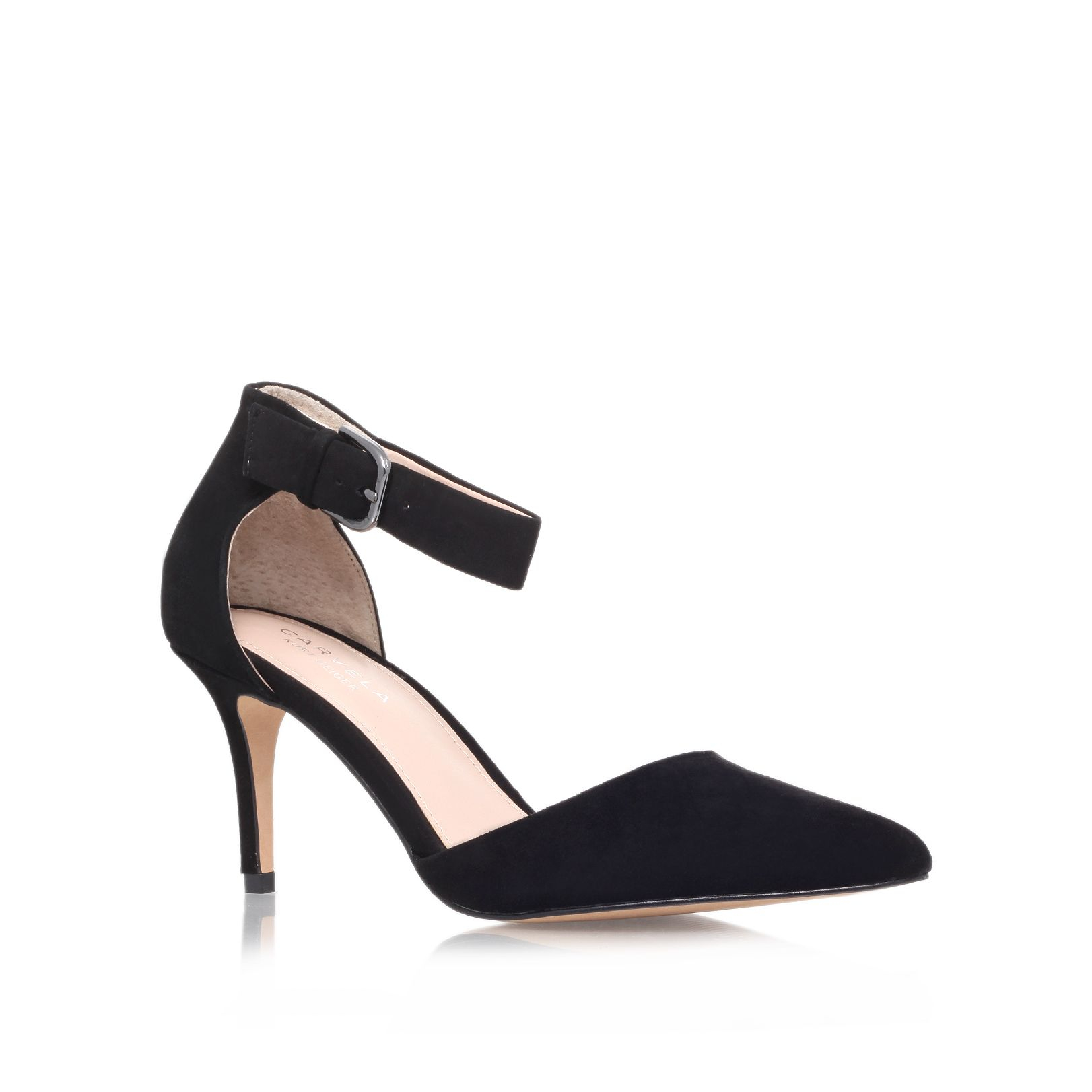 Black Pointed Heels With Ankle Strap - Is Heel