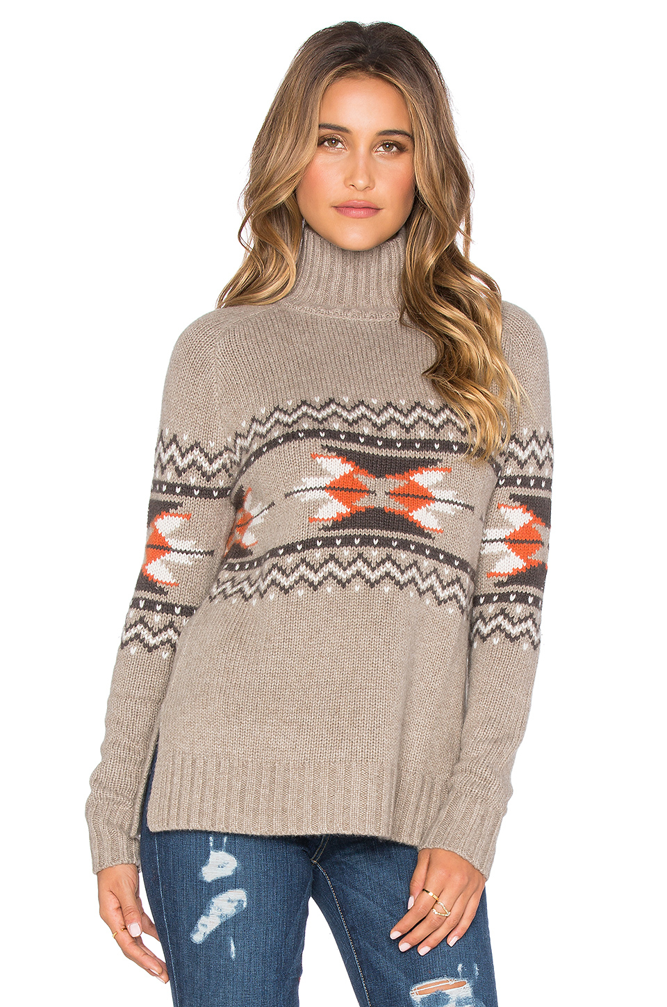 Autumn cashmere Fairisle Mockneck Sweater in Gray | Lyst