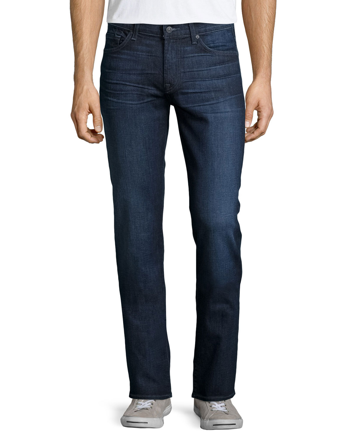 7 for all mankind slimmy straight leg jeans in blue for. Black Bedroom Furniture Sets. Home Design Ideas