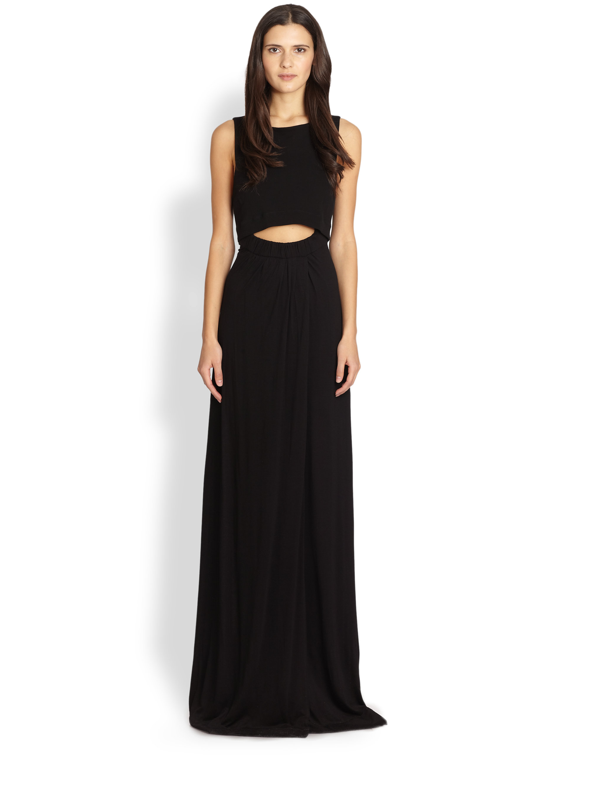 A.l.c. Layeredtop Cutout Maxi Dress in Black | Lyst
