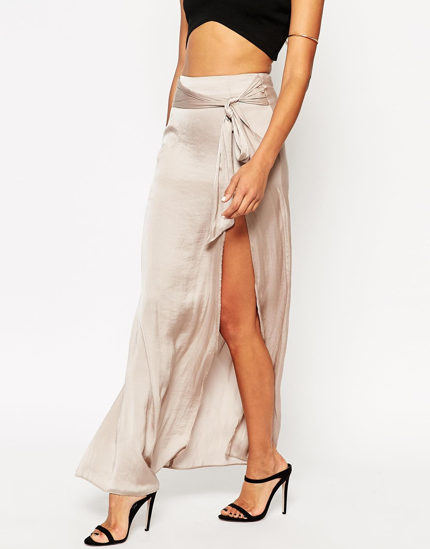 f4da99a07f ASOS Maxi Skirt With Thigh Split And Obi Tie Belt in Natural - Lyst