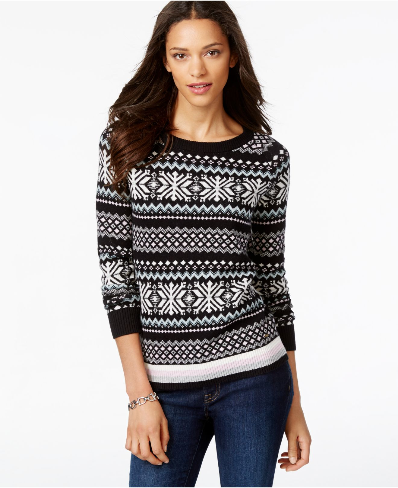 Tommy hilfiger Printed Fairisle Sweater in Black | Lyst