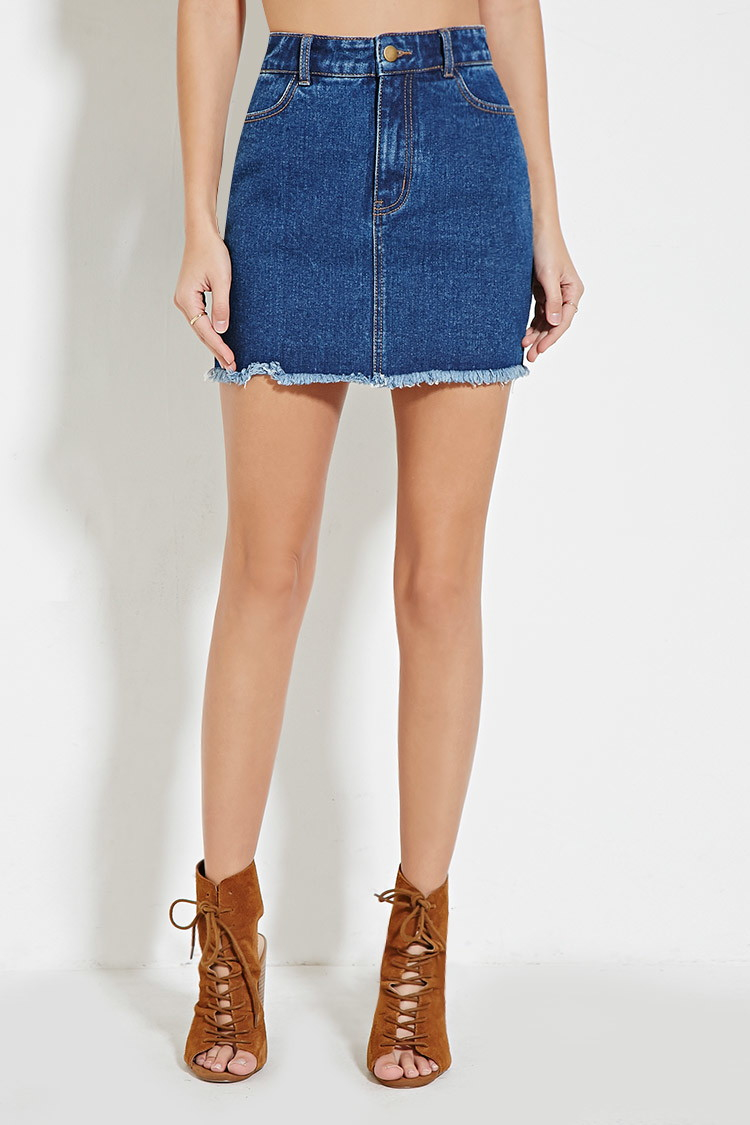 Forever 21 Frayed Denim Skirt in Blue | Lyst