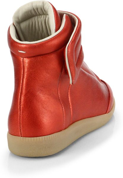 maison margiela future leather hightop sneakers in red for men lyst. Black Bedroom Furniture Sets. Home Design Ideas