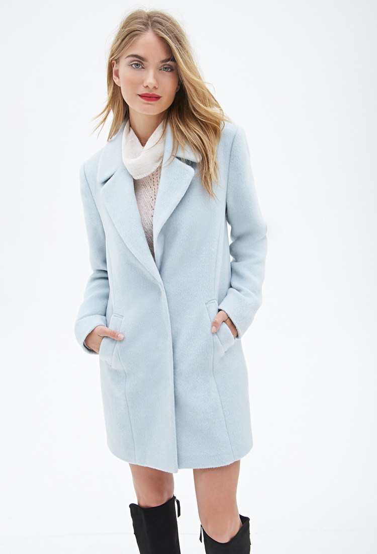 Forever 21 Contemporary Classic Car Coat in Blue | Lyst
