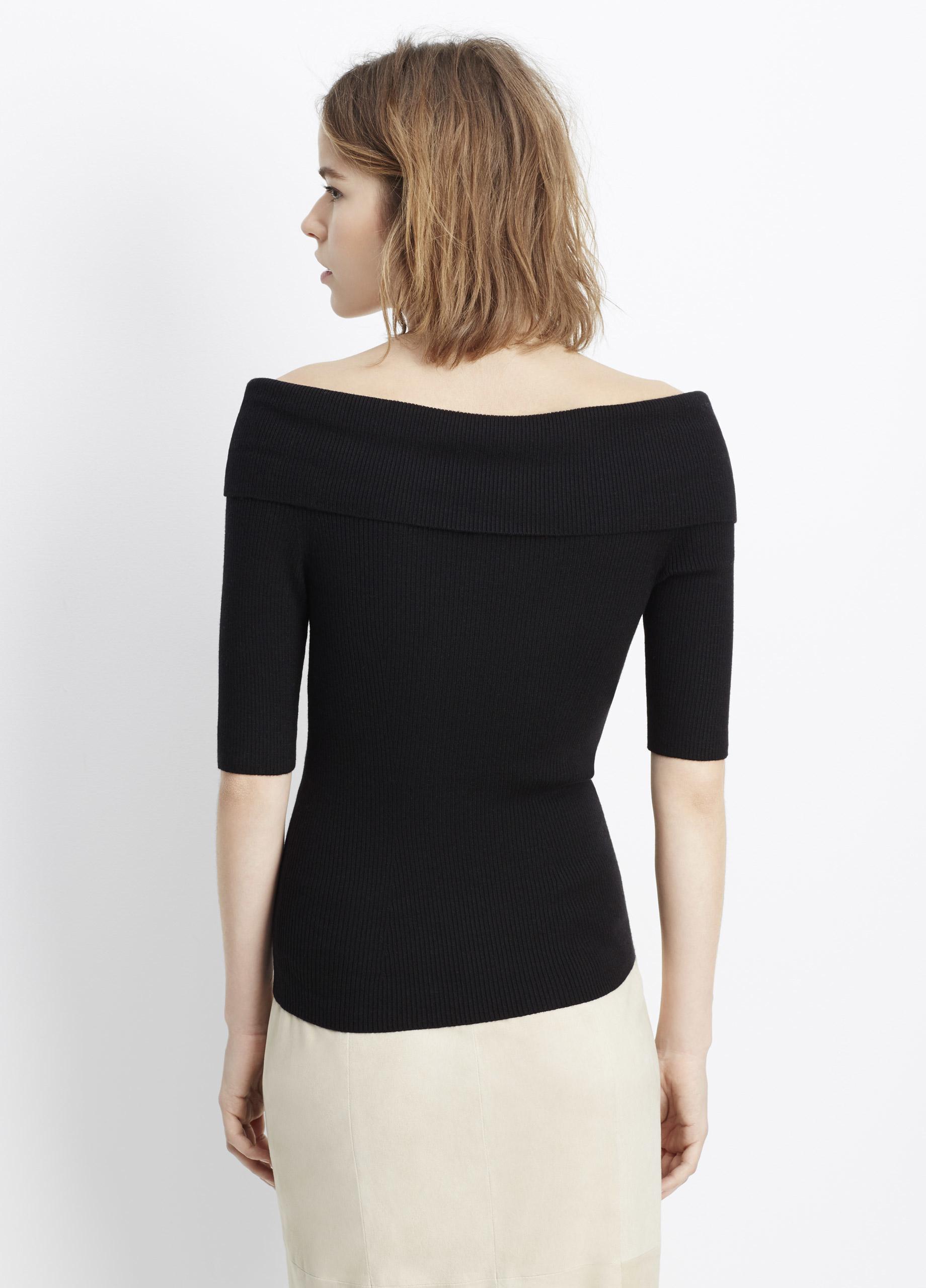 vince skinny rib off the shoulder elbow sleeve pullover in. Black Bedroom Furniture Sets. Home Design Ideas
