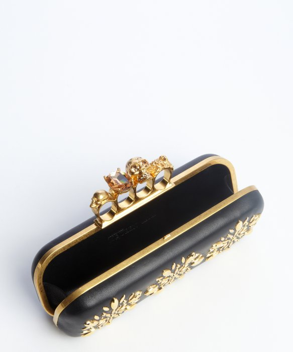Lyst Alexander Mcqueen Black And Gold Leather