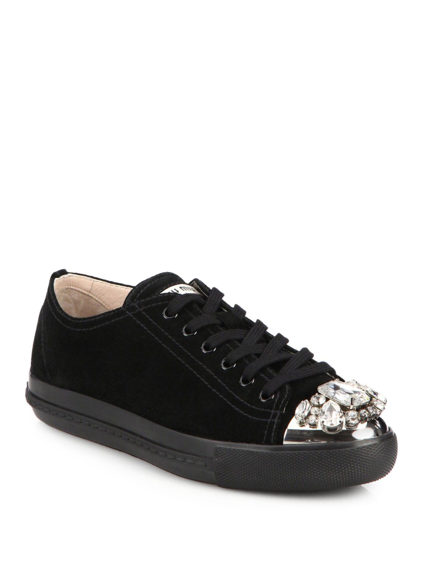 Lyst - Miu Miu Suede Swarovski Crystal Lowtop Sneakers in Metallic c829a6441e53