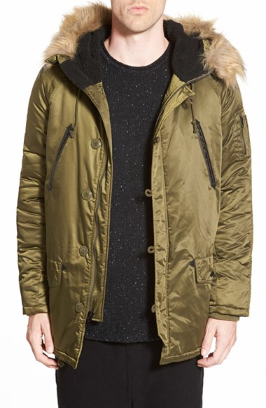 Members only Hooded Military Parka With Faux Fur Trim in Green for ...