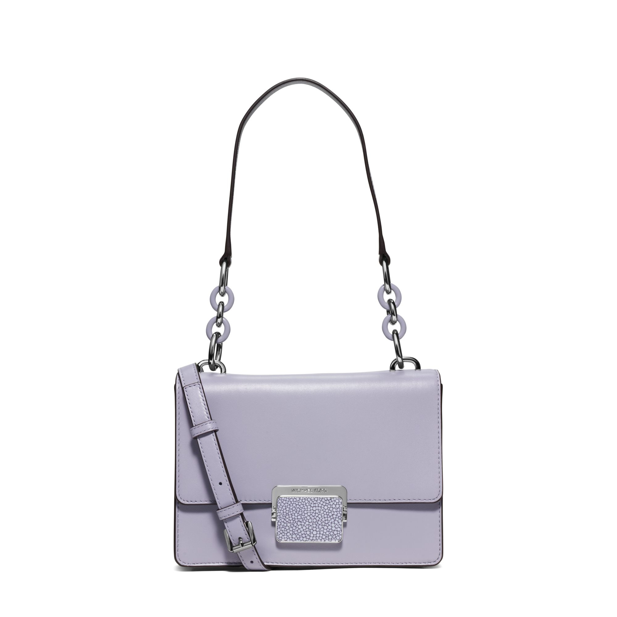 d4a0f2e08902 Lyst - Michael Kors Cynthia Small Leather Shoulder Bag in Purple