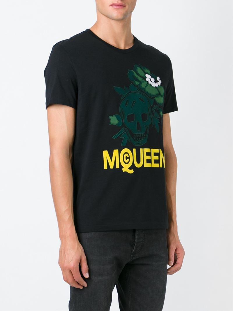 Lyst alexander mcqueen hibiscus skull t shirt in black for Alexander mcqueen shirt men