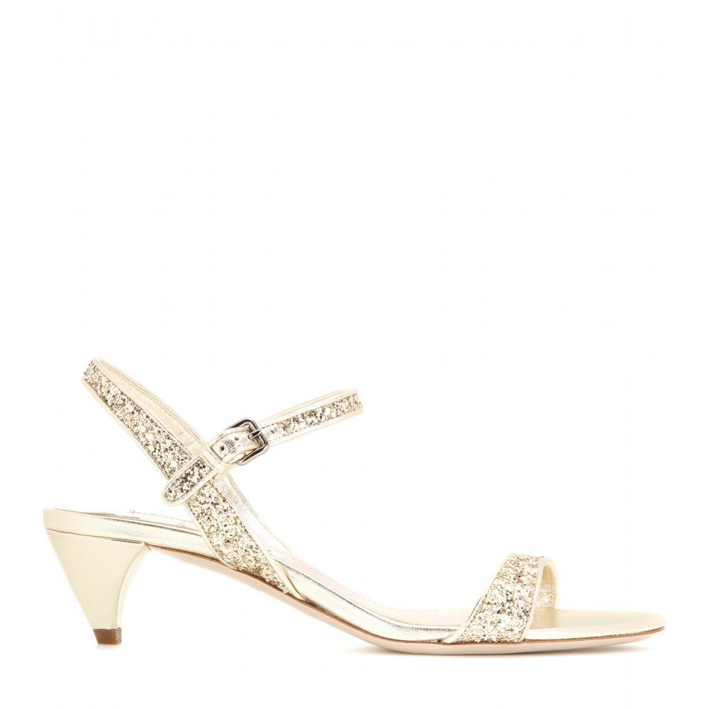 Miu miu Glitter Embellished Kitten-heel Sandals in Metallic | Lyst