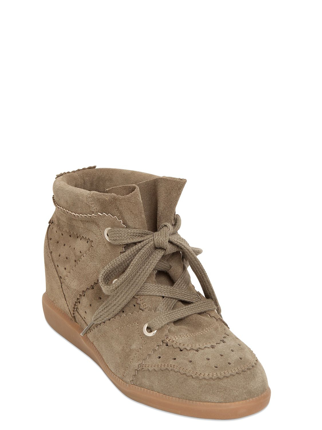 Isabel Marant Etoile 80mm Bobby Suede Wedge Sneakers In