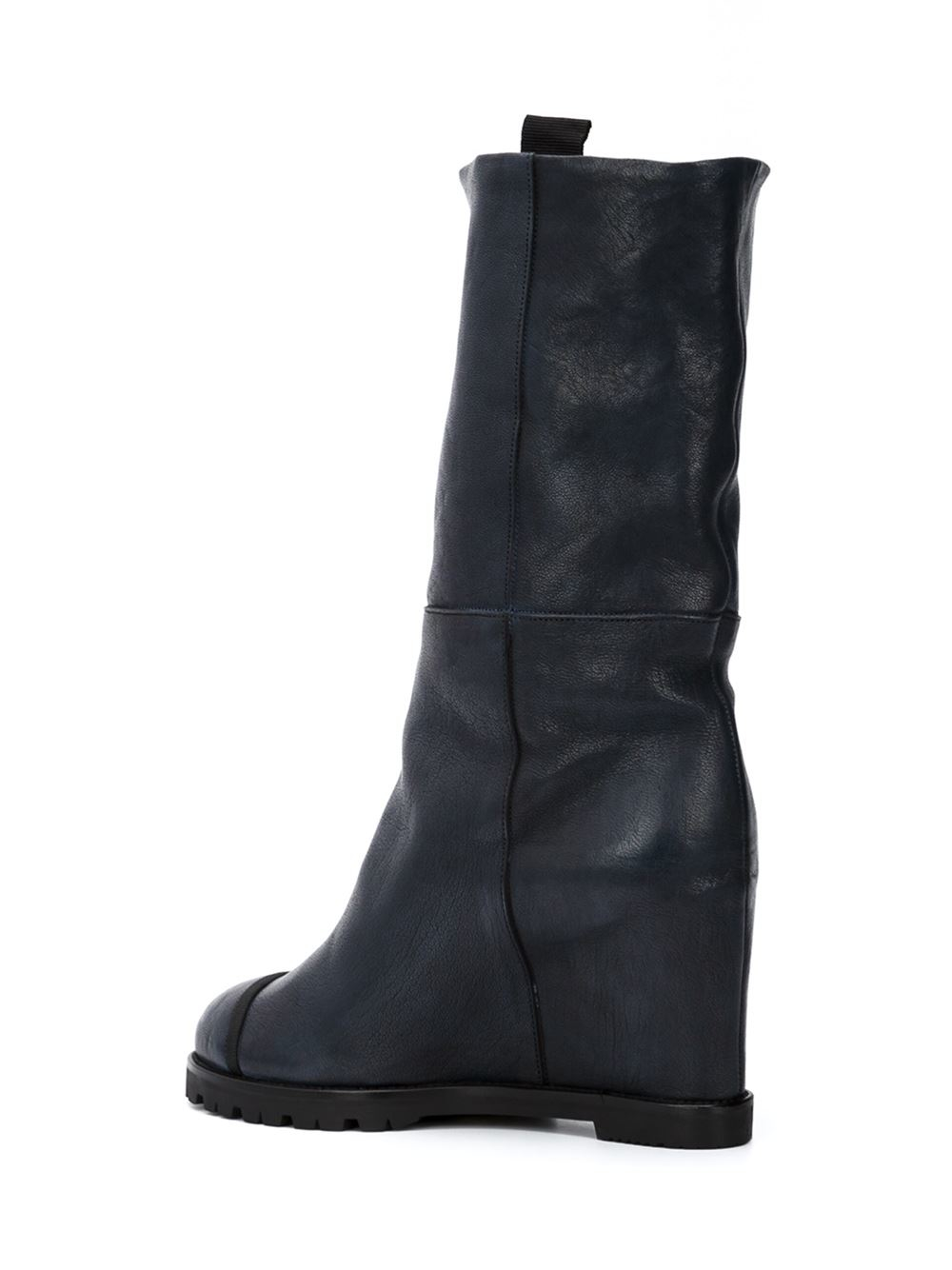 chuckies new york mid calf wedge boots in black lyst