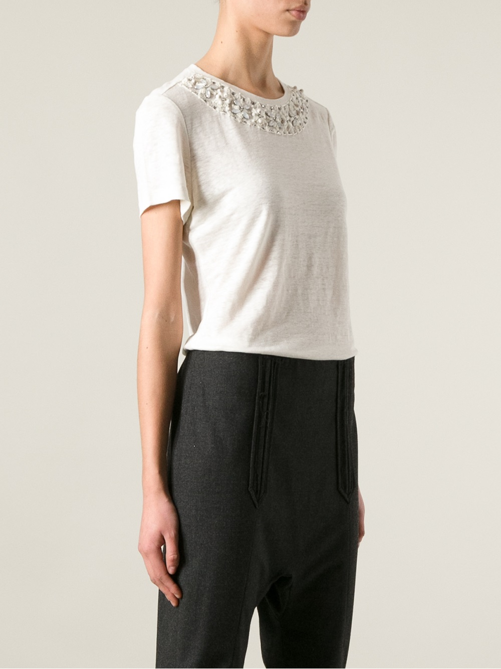 Tory burch embellished tshirt in white lyst for Tory burch t shirt