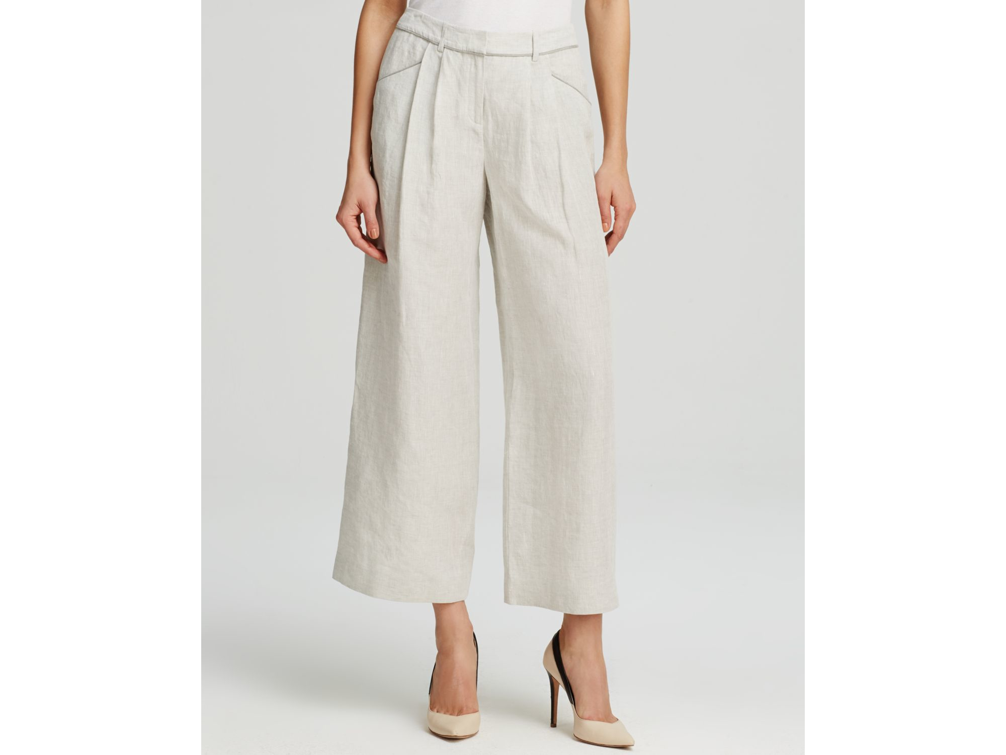 Lyst Lafayette 148 New York Cropped Wide Leg Linen Pants