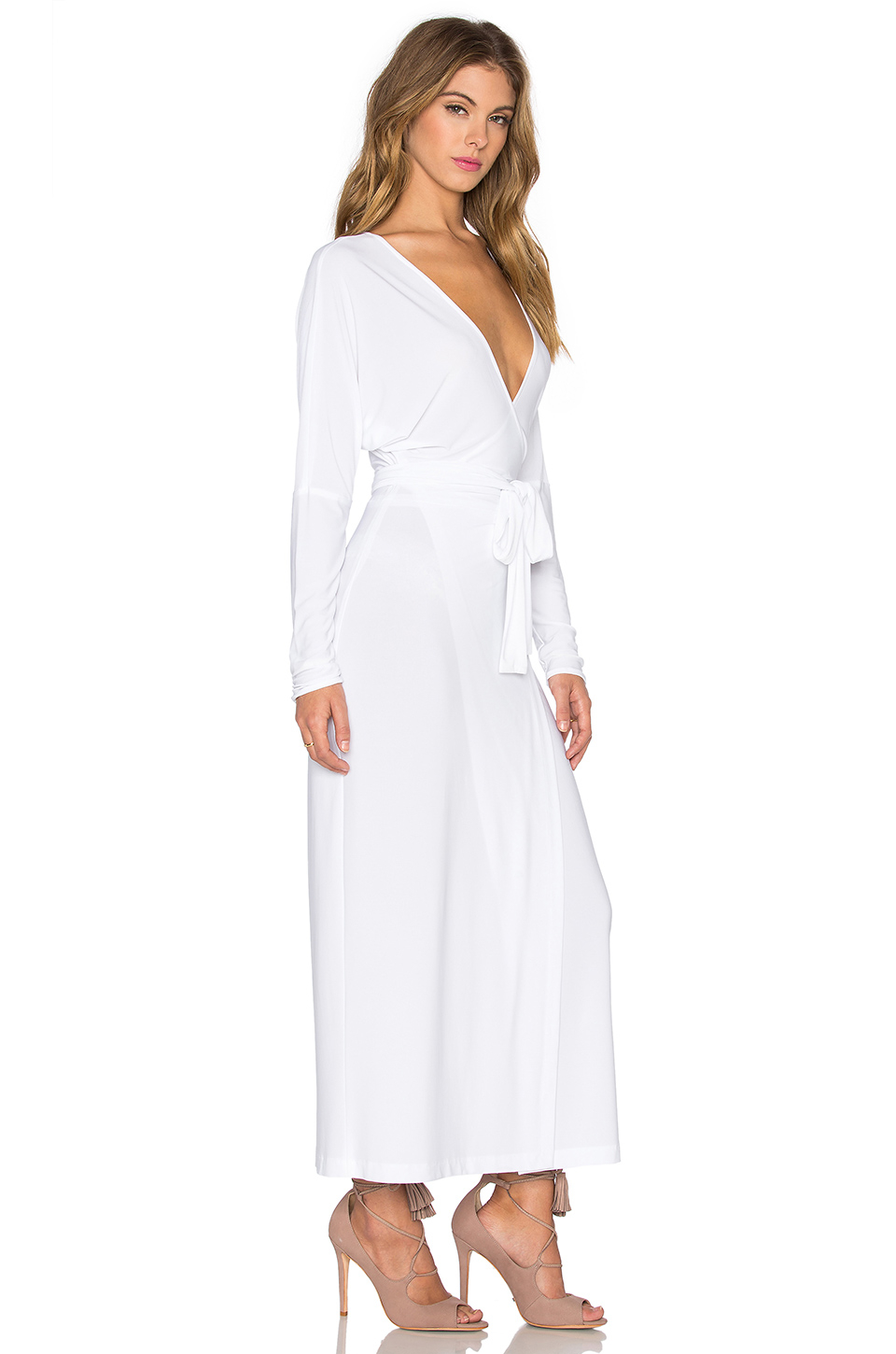 9d23a364458f2c Norma Kamali Dolman Wrap Midi Dress in White - Lyst