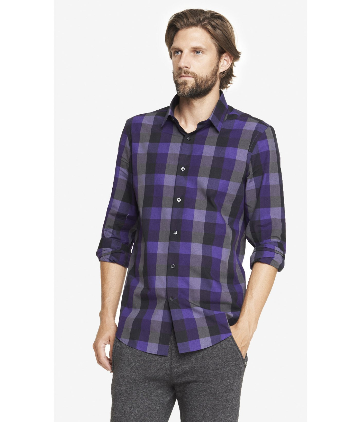 Lyst express modern fit checked shirt in blue for men for Modern fit dress shirt