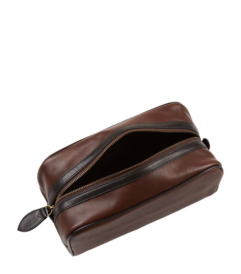 73ab804000 Polo Ralph Lauren Leather Wash Bag in Brown for Men - Lyst