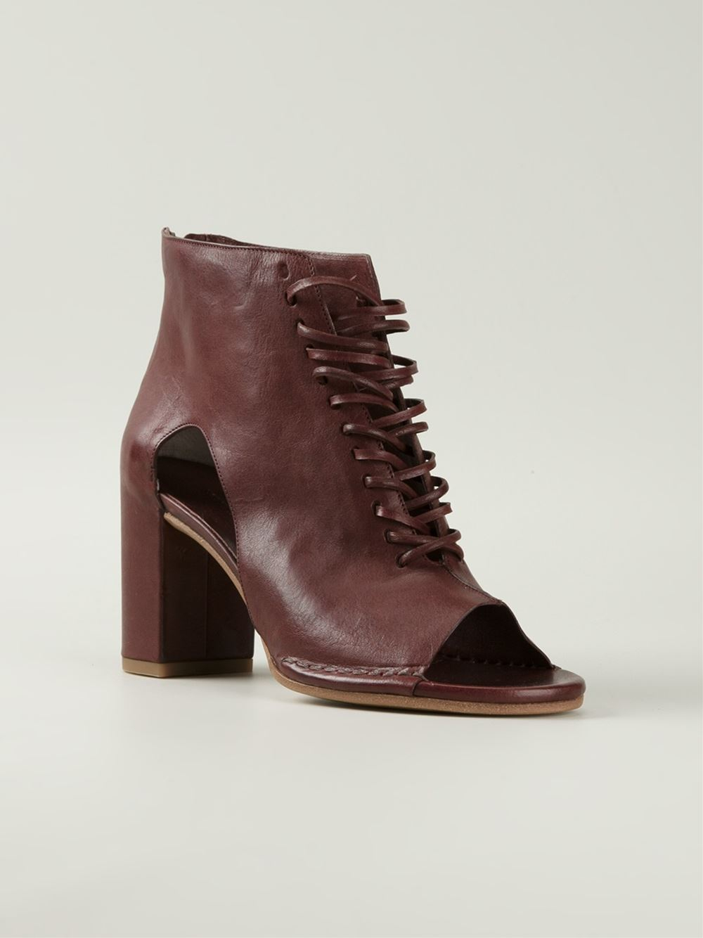 roberto carlo open toe ankle boots in lyst