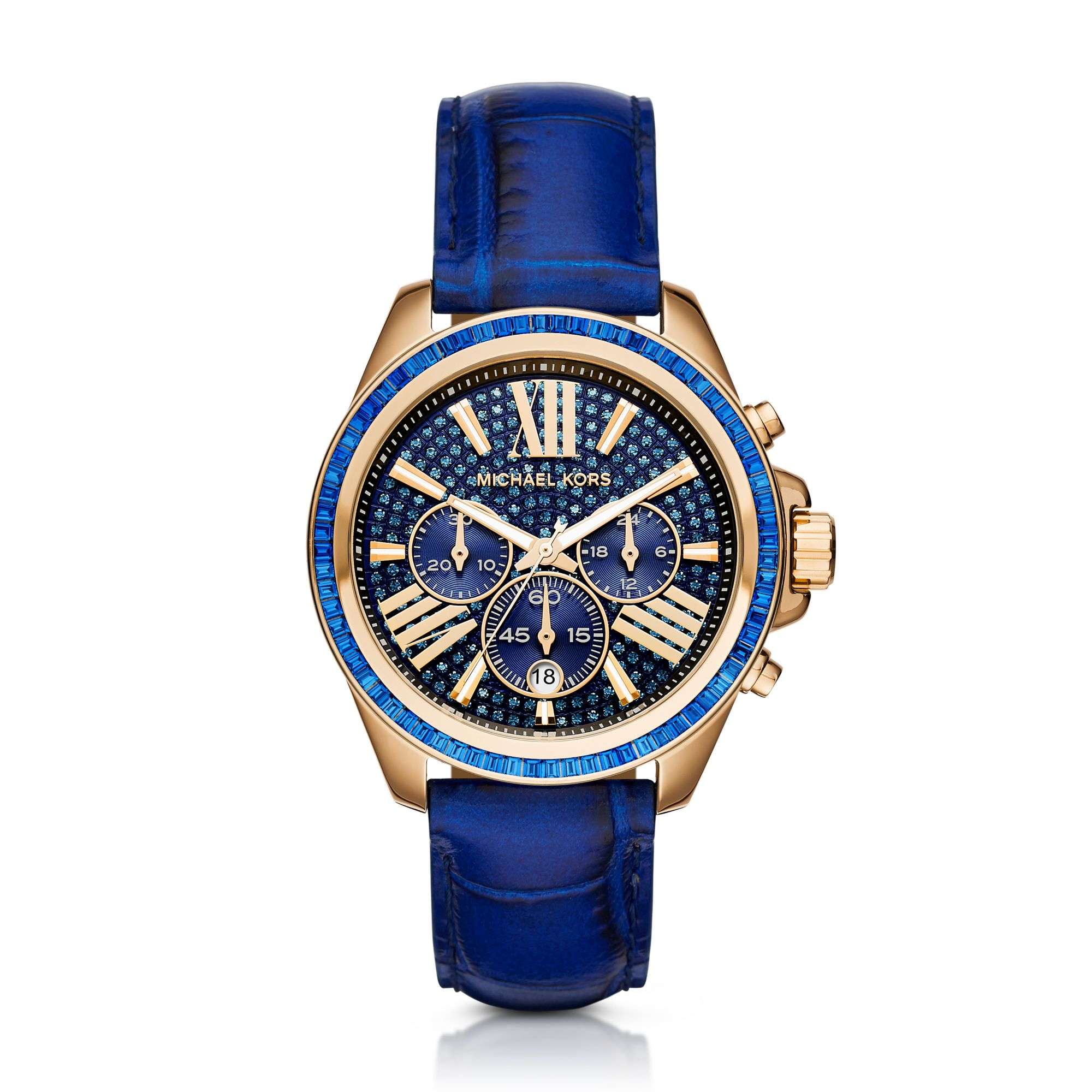Michael kors Wren Gold-tone And Leather Watch in Blue | Lyst