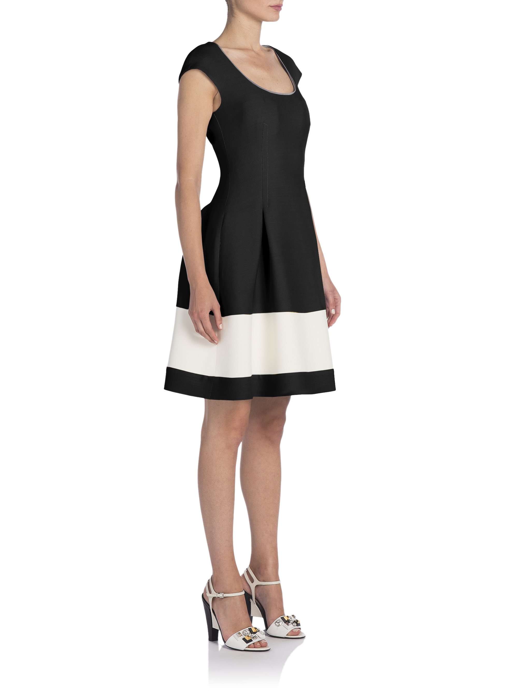Lyst Fendi Pleated Wool Amp Silk Fit Amp Flare Dress In Black