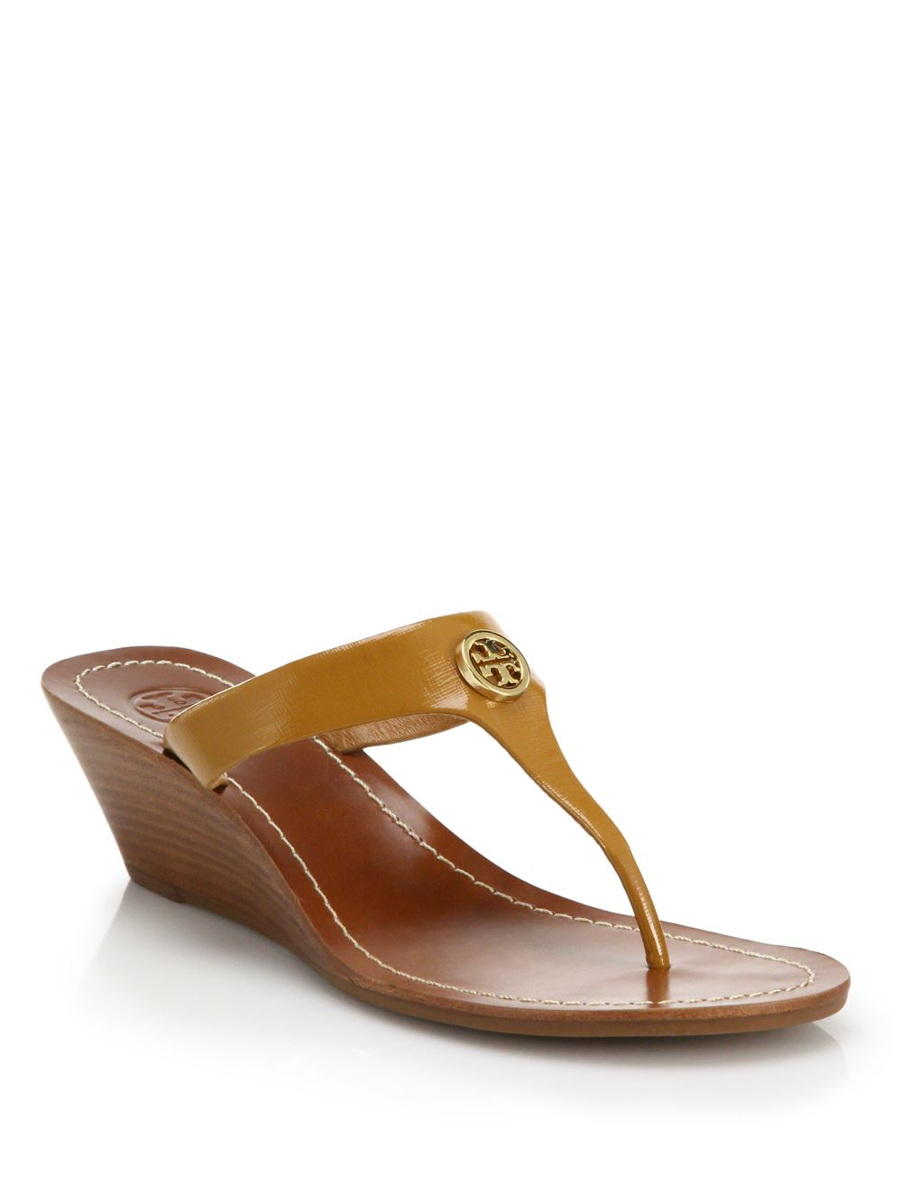 Lyst Tory Burch Cameron Logo Leather Thong Wedge Sandals