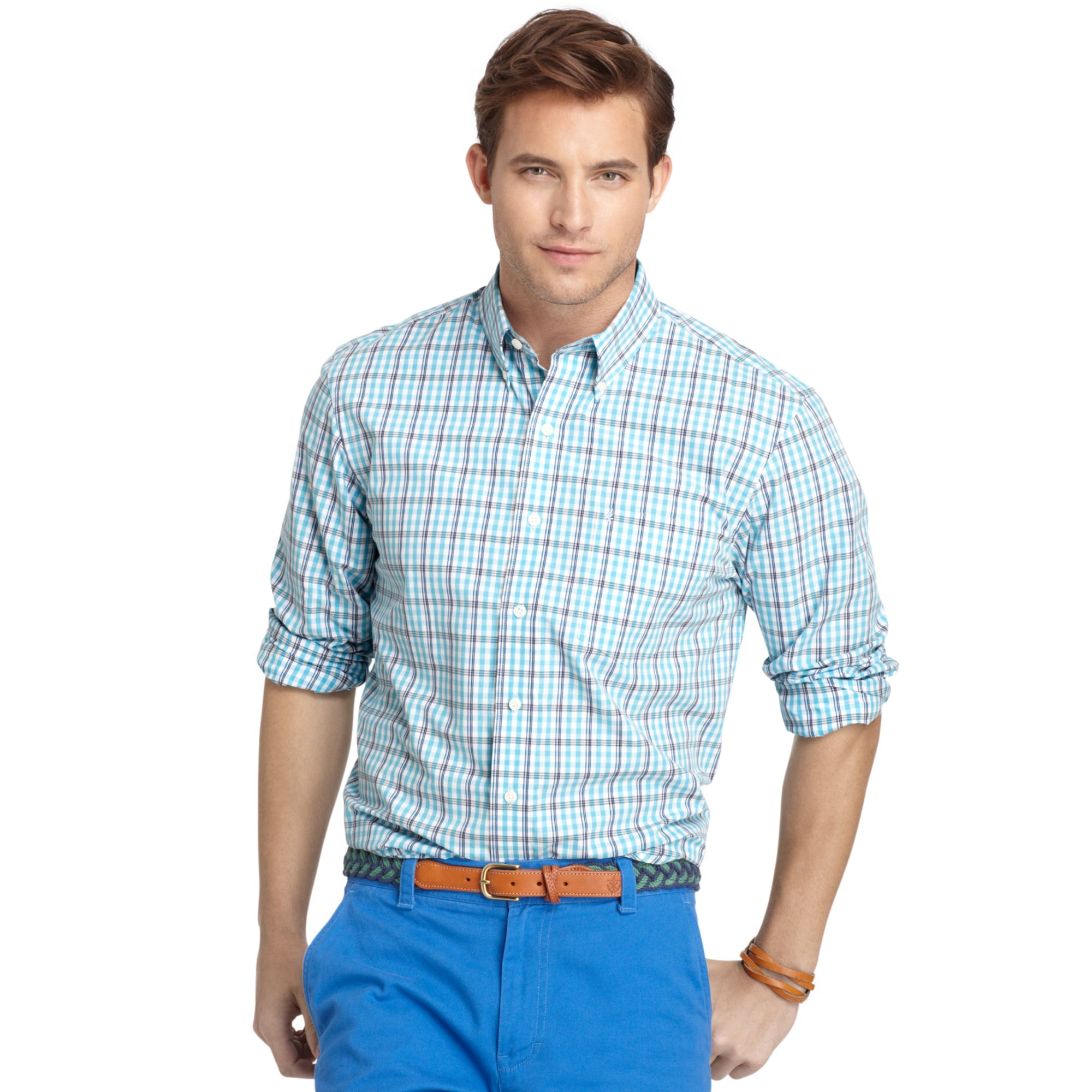 Lyst izod long sleeve essential plaid shirt in blue for men for Izod big and tall shirts