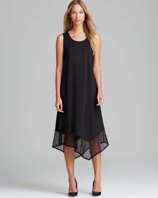 4fc7842cf7f Lyst - Eileen Fisher Lace Hem Dress in Black