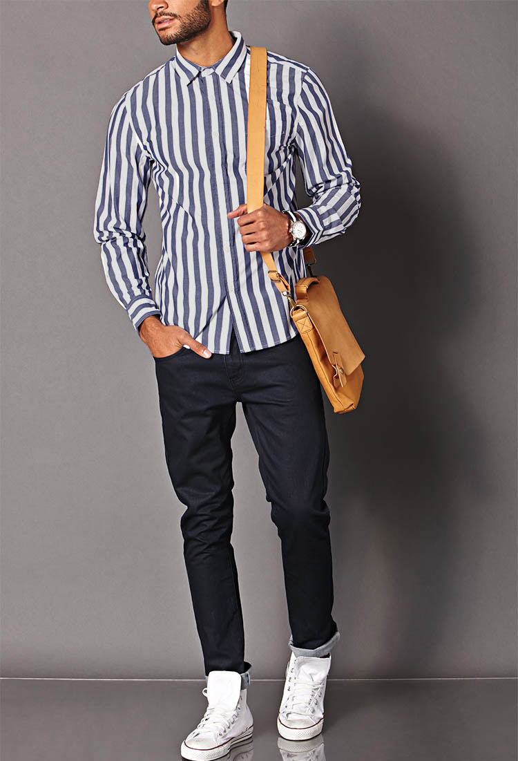 Forever 21 Vertical Striped Classic Fit Shirt in Blue for Men | Lyst