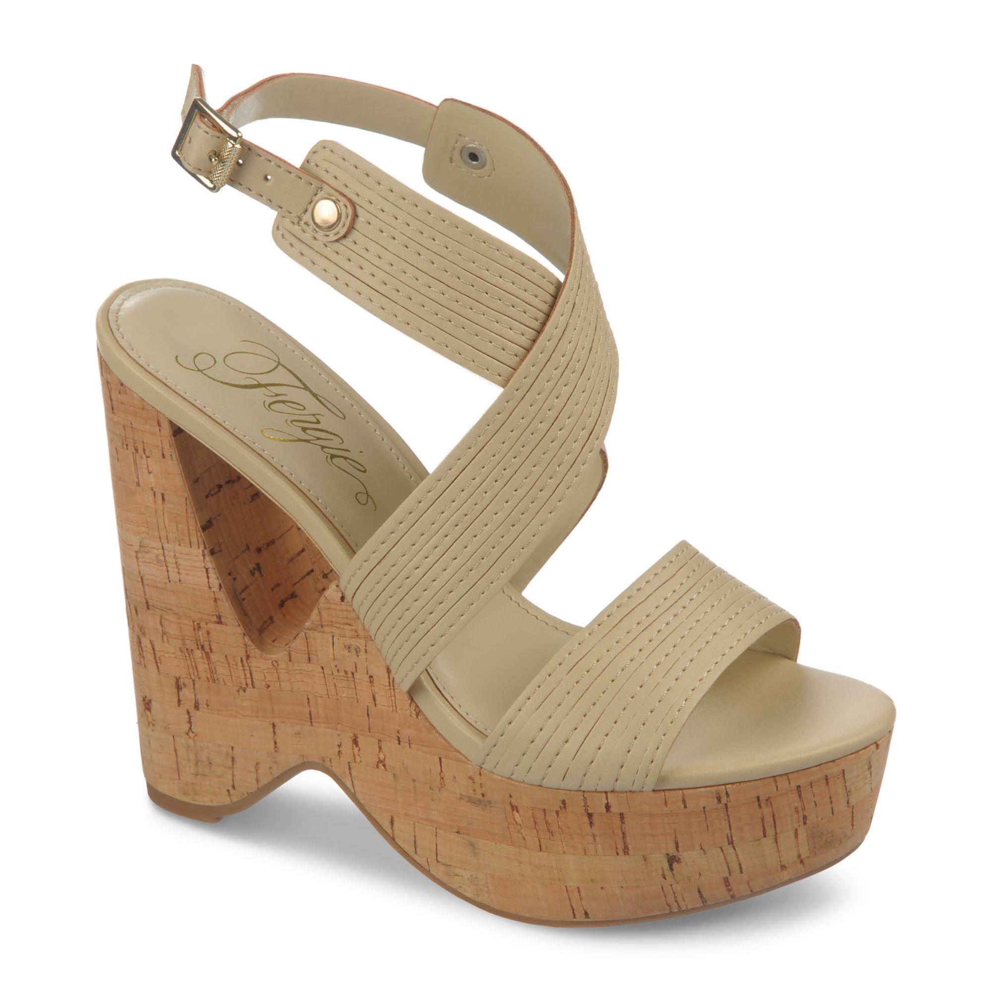 fergie alive cork platform wedge sandals in beige