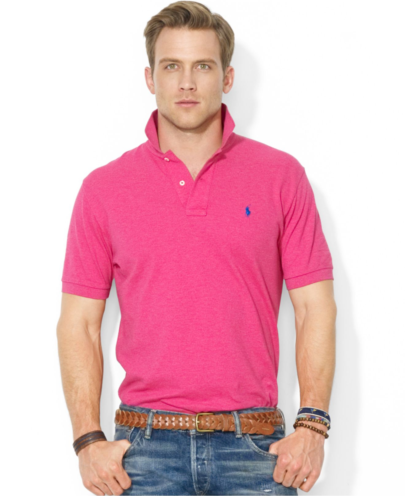d40eb656e Polo ralph lauren Classic-Fit Mesh Polo Shirt in Pink for Men