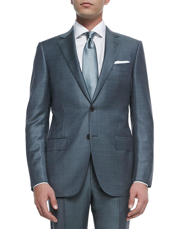 Lyst - Ermenegildo Zegna Trofeo Wool Sharkskin Suit in Blue for Men f49a60ee60b1