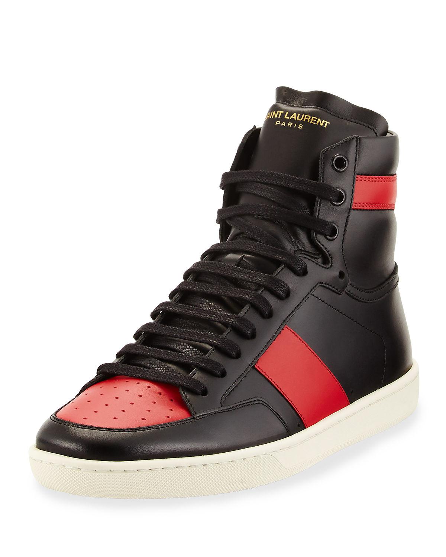 saint laurent contrast stripe leather high top sneaker in black lyst. Black Bedroom Furniture Sets. Home Design Ideas