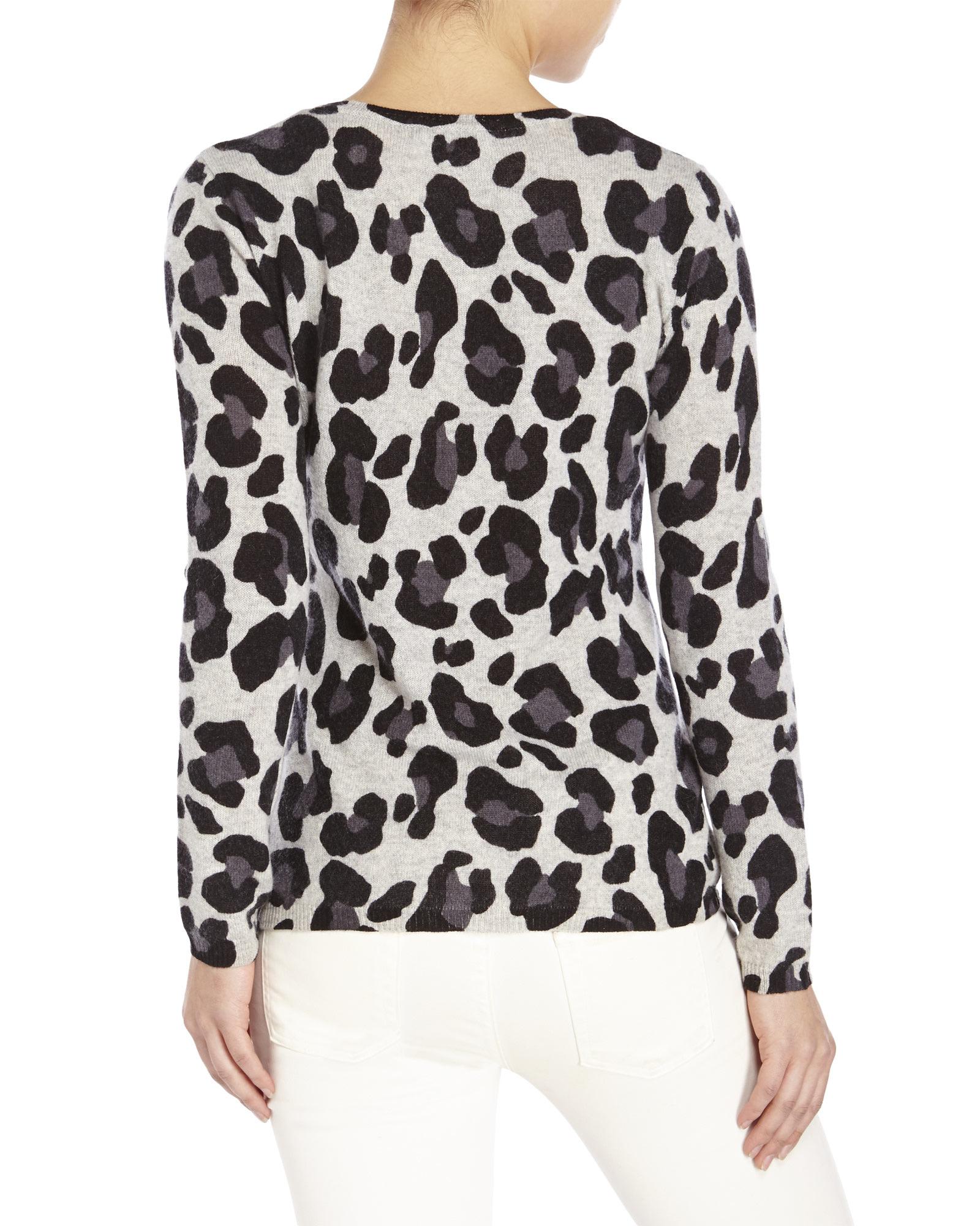 Lauren hansen Leopard Print Cashmere Sweater in Gray | Lyst