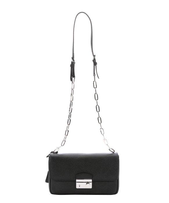 hot lyst prada black saffiano leather chainlink shoulder bag in black fb215  8faf0 1ddb61bc51cc2
