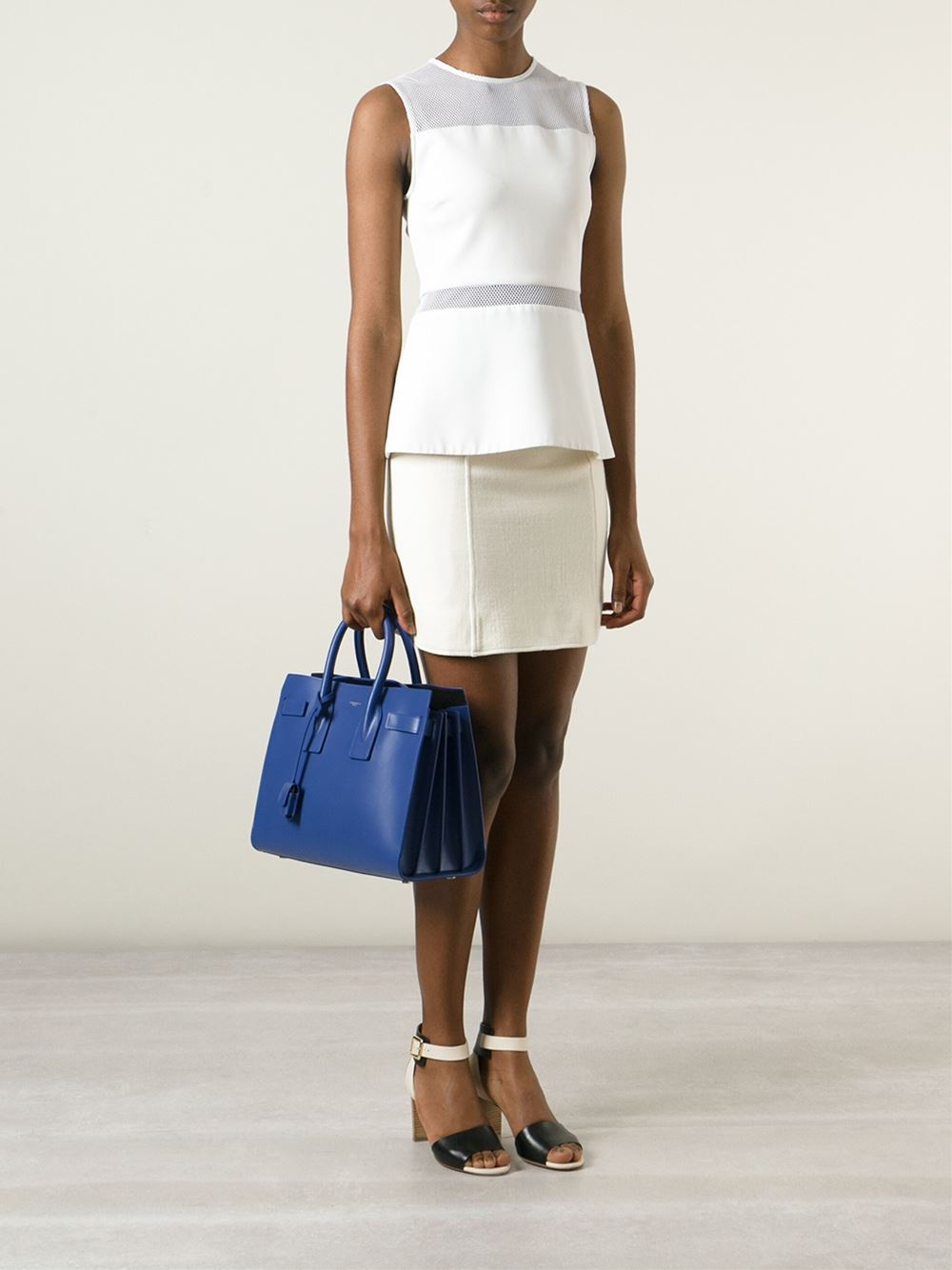 huge shoulder bag - classic small sac de jour bag in royal blue leather